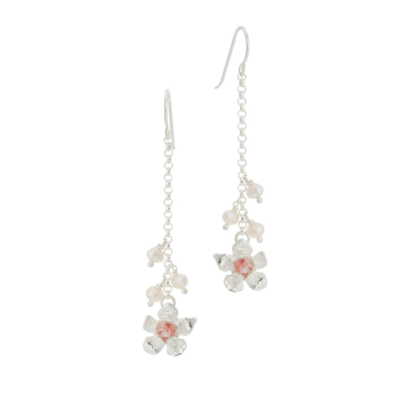 Fera ~ Tiny Flower Pearl Dangle Earrings - Alexandra Mosher Studio Jewellery Bermuda Fine