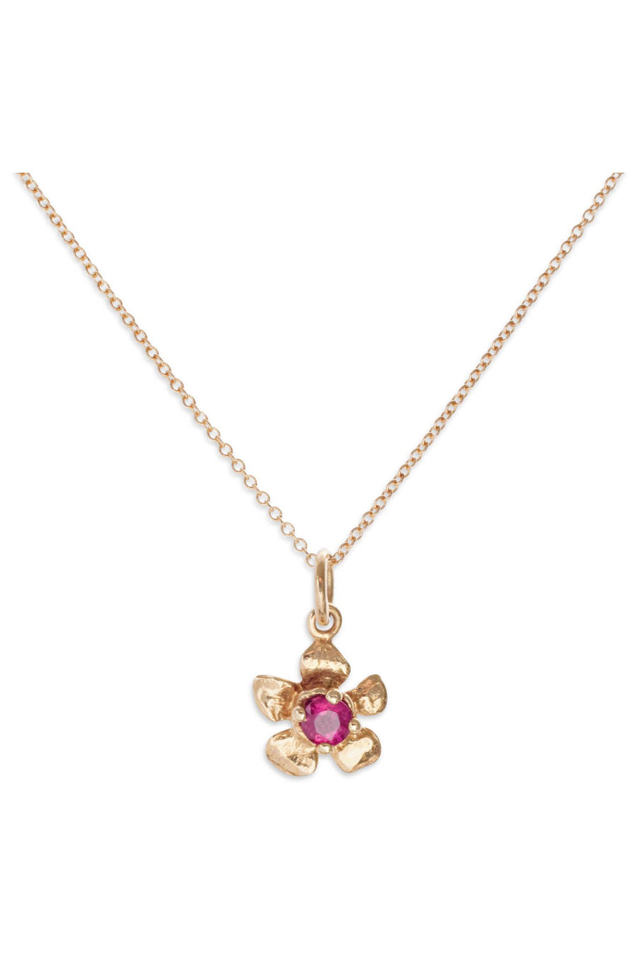 Floral Collection l Tiny Gem 14K Gold Pendant