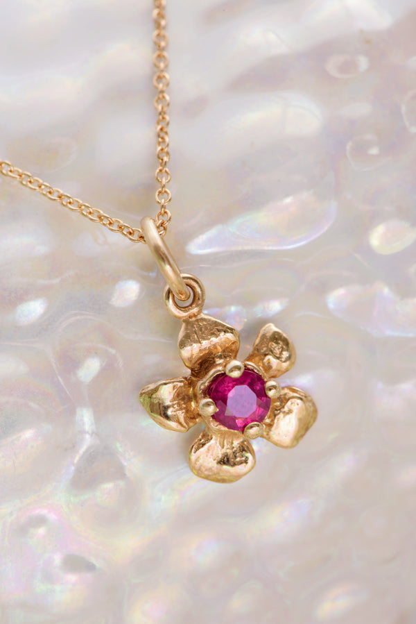 Fera ~ Tiny Flower Gem Pendant in Gold - Alexandra Mosher Studio Jewellery Bermuda Fine