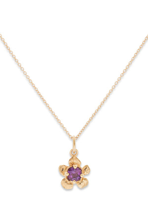 Floral Collection I Tiny Gem 14K Gold Pendant