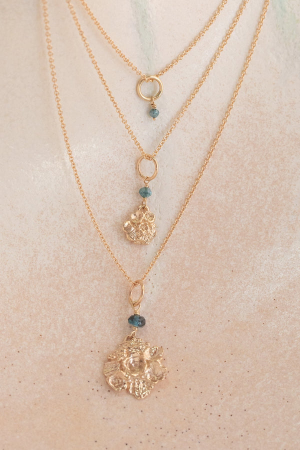 Tide Pool ~ Textured Large Gem Pendant 14K w/ London Blue Topaz - Alexandra Mosher Studio Jewellery Bermuda Fine