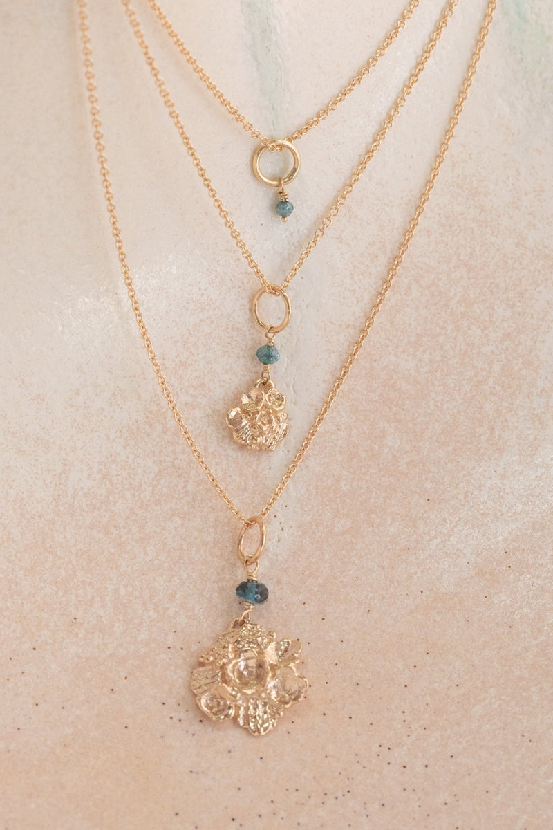 Tide Pool ~ Textured Small Gem Gold Pendant w/ Diamond - Alexandra Mosher Studio Jewellery Bermuda Fine