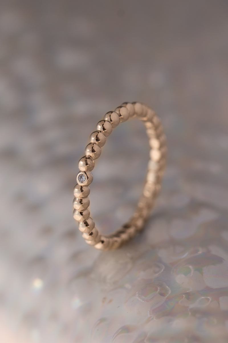 Caviar Bands ~ One Diamond Gold Ring