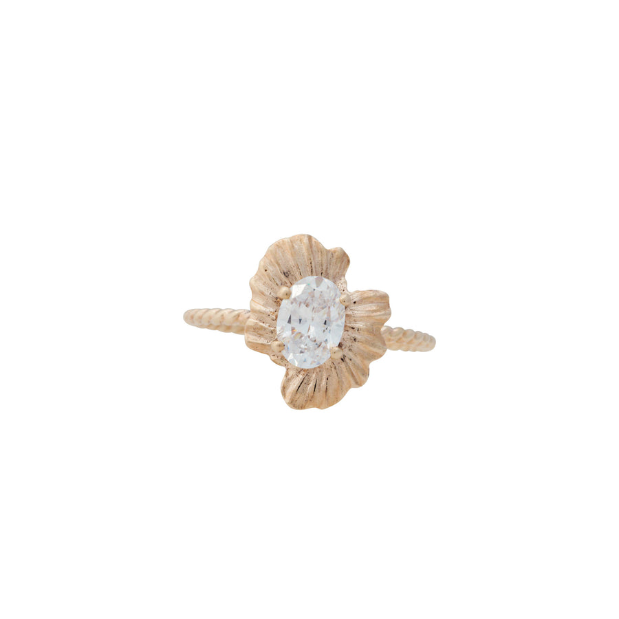 Bermuda Textures | 14K Gold Half Shell Engagement Ring