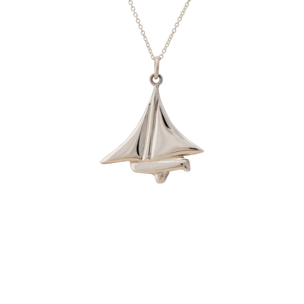 Nautical ~ Dinghy Pendant in Solid Silver - Alexandra Mosher Studio Jewellery Bermuda Fine