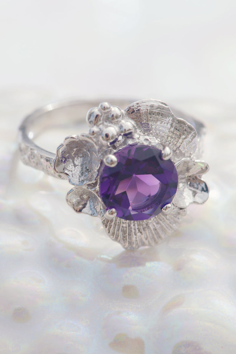Barnacle Tide Pool Moss Textured Ring 14K White Gold - Alexandra Mosher Studio Jewellery Bermuda Fine