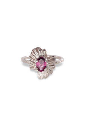Oval Starburst Shell Moss Textured Ring 14K White Gold