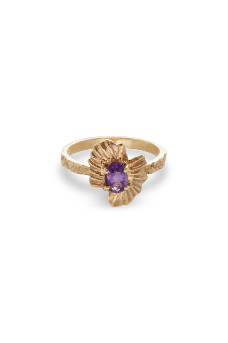 Oval Starburst Shell Moss Textured Ring 14K Yellow Gold
