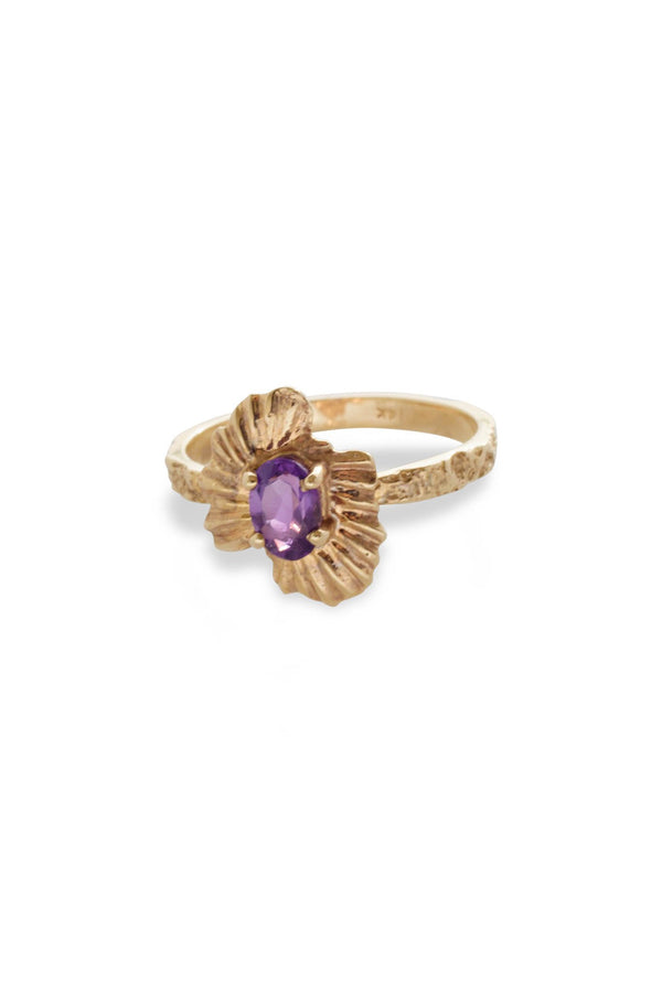 One of a Kind ~ Oval Starburst Shell Moss Textured Ring in Yellow Gold - Alexandra Mosher Studio Jewellery Bermuda Fine