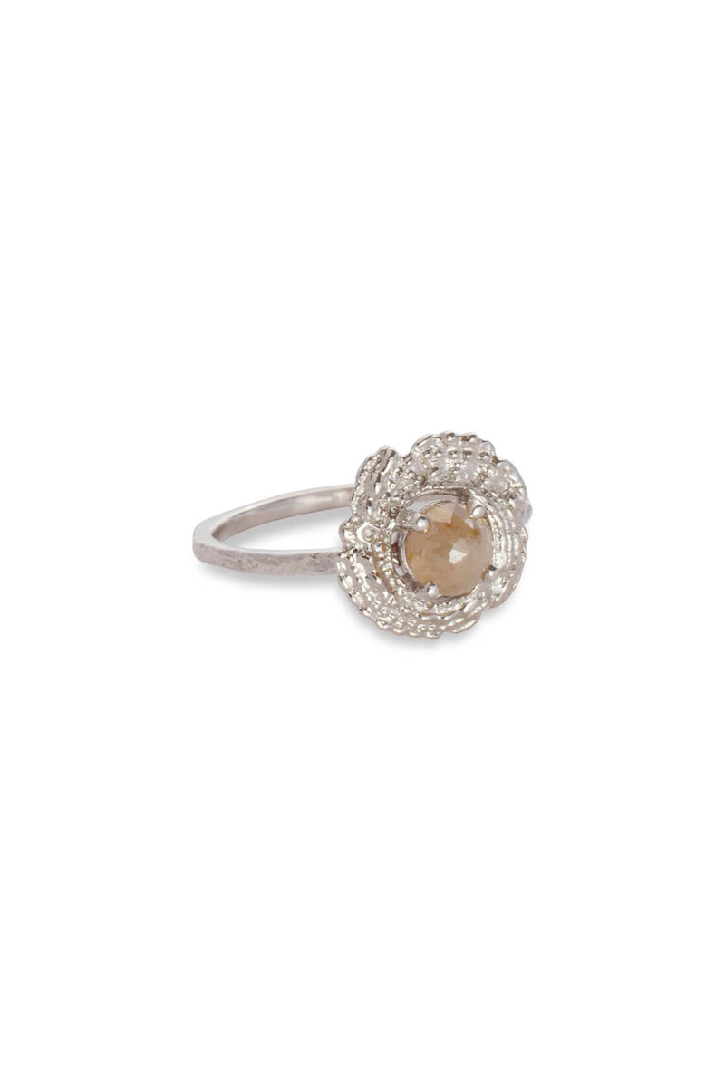 Bubble Shell Moss Textured Ring 14K White Gold