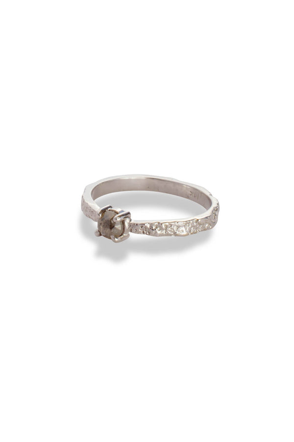 BDA Tapered Moss Textured Ring 14K White Gold