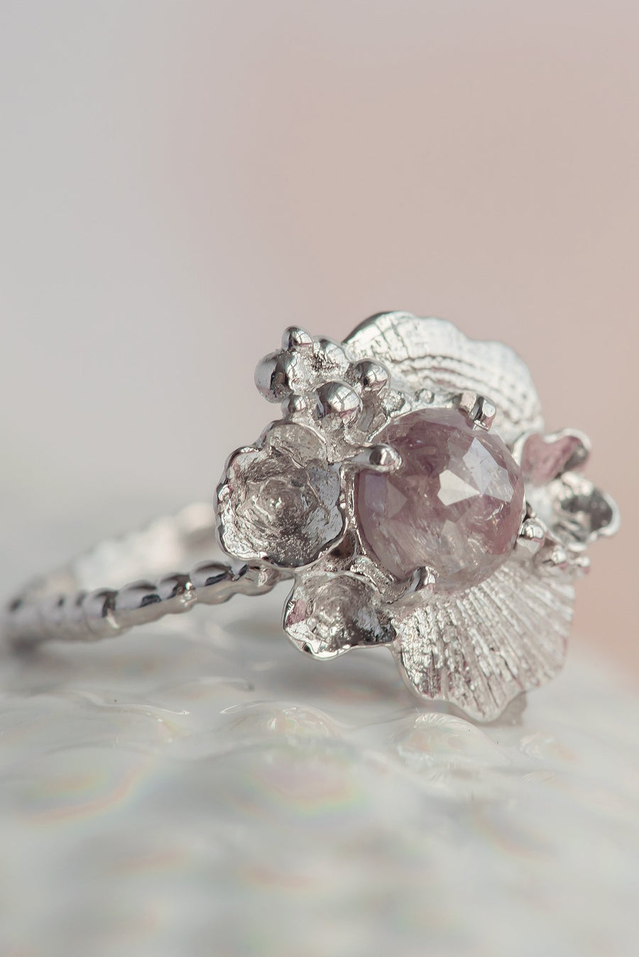 Tide Pool Ring with Rose Cut Diamond 14K White Gold