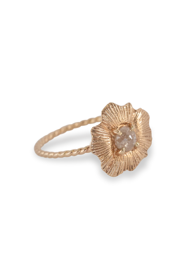 Round Starburst Shell Ring14K