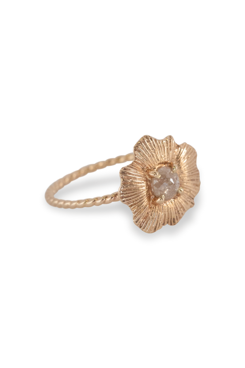 One of a Kind ~ Round Starburst Shell Ring in Yellow Gold - Alexandra Mosher Studio Jewellery Bermuda Fine