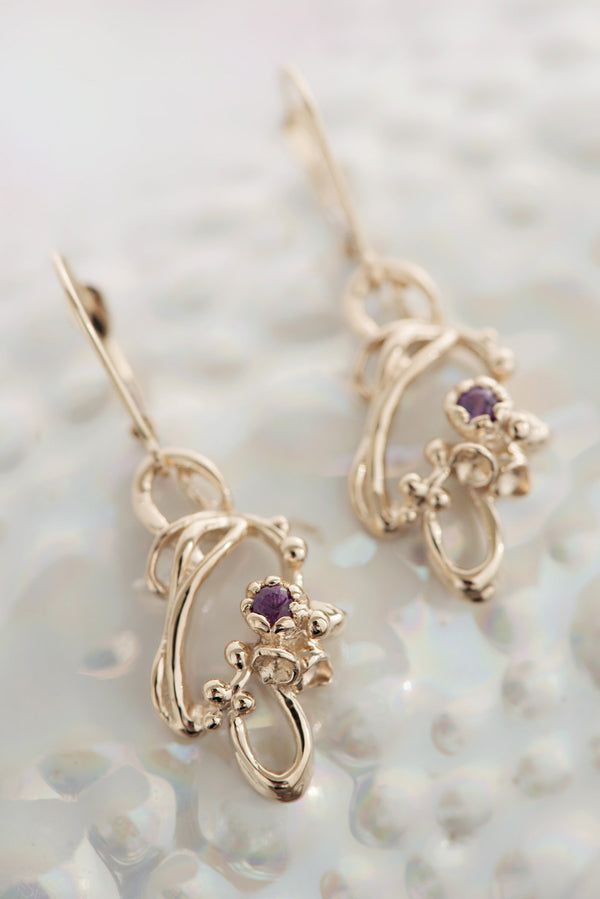 Under the Sea ~ Barnacle (Small) Gem Dangle Earrings in Gold - Alexandra Mosher Studio Jewellery Bermuda Fine