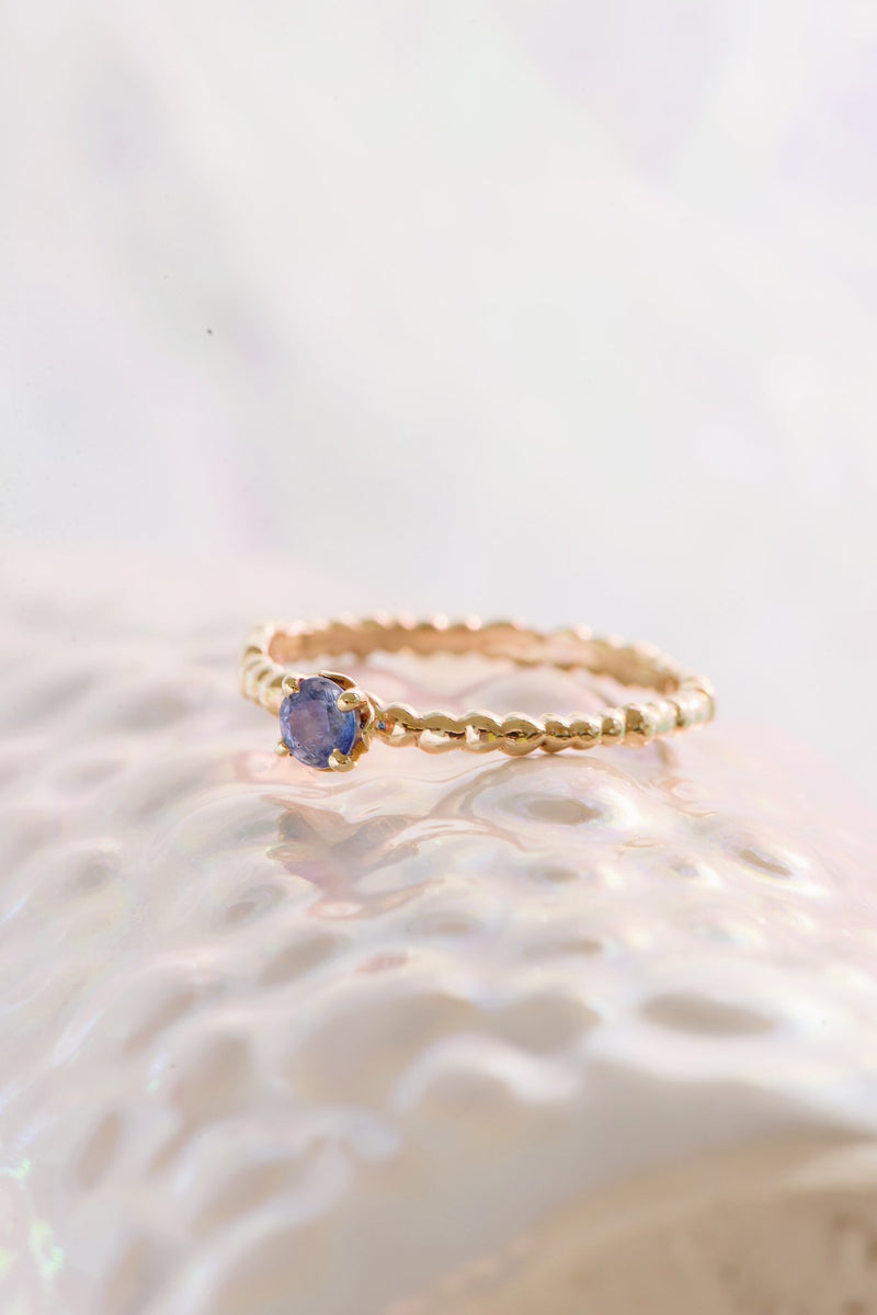 Caviar Solitaire Ring 14K Yellow Gold