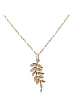 Ocean Leaf Thin Pendant 14K w/ Blue Diamond - Alexandra Mosher Studio Jewellery Bermuda Fine