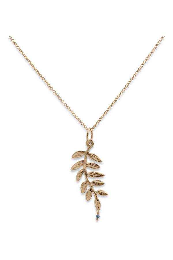 Ocean Leaf Gold Pendant w/ Blue Diamond - Alexandra Mosher Studio Jewellery Bermuda Fine