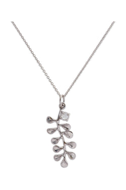 Ocean Leaf Small Pendant 14K w/ White Diamond