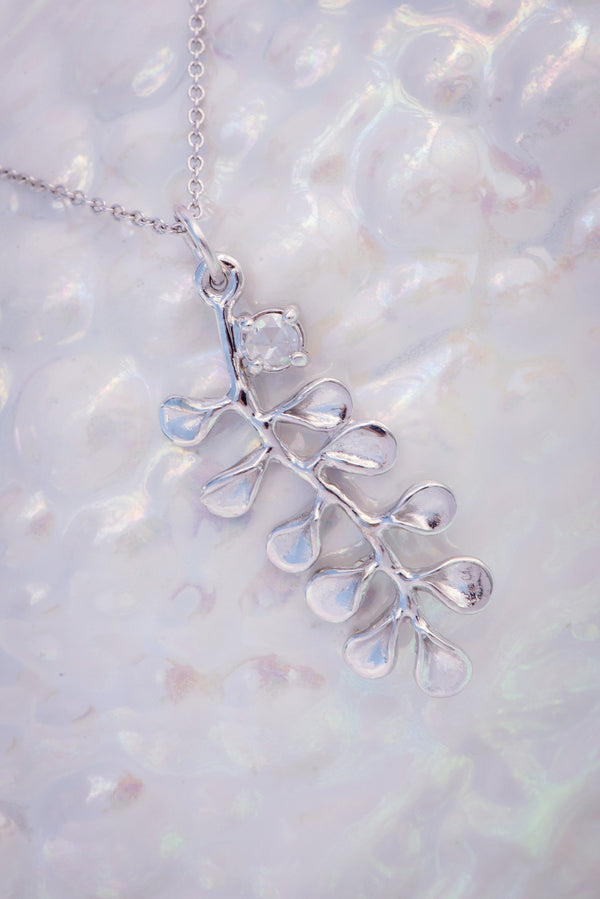 Ocean Leaf Small Pendant 14K w/ White Diamond - Alexandra Mosher Studio Jewellery Bermuda Fine