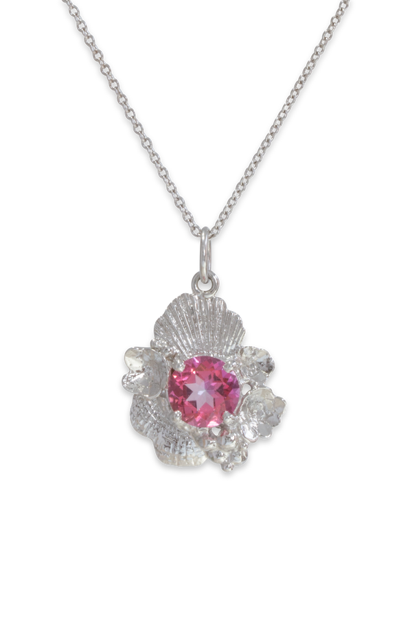 Barnacle Tide Pool Gem Pendant 14K w/ Pink Topaz