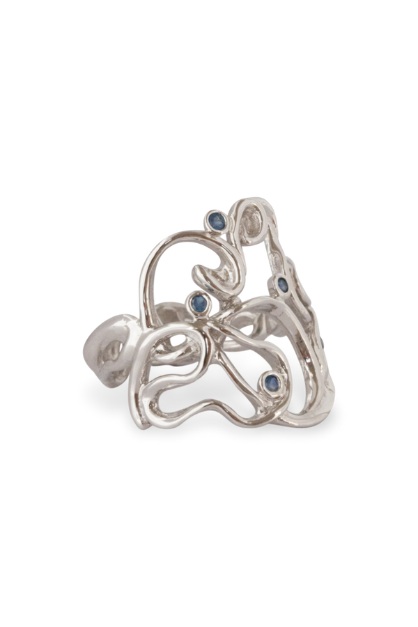 Melt Cocktail Gem Ring 14K White Gold - Alexandra Mosher Studio Jewellery Bermuda Fine