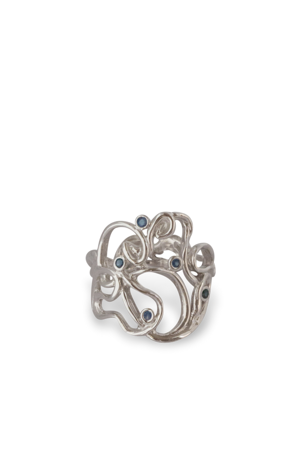 One of a Kind ~ Melt Cocktail Gem Ring in White Gold - Alexandra Mosher Studio Jewellery Bermuda Fine