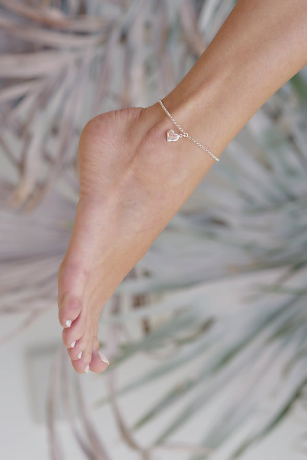 Splash ~ Heart (Large) Anklet - Alexandra Mosher Studio Jewellery Bermuda Fine