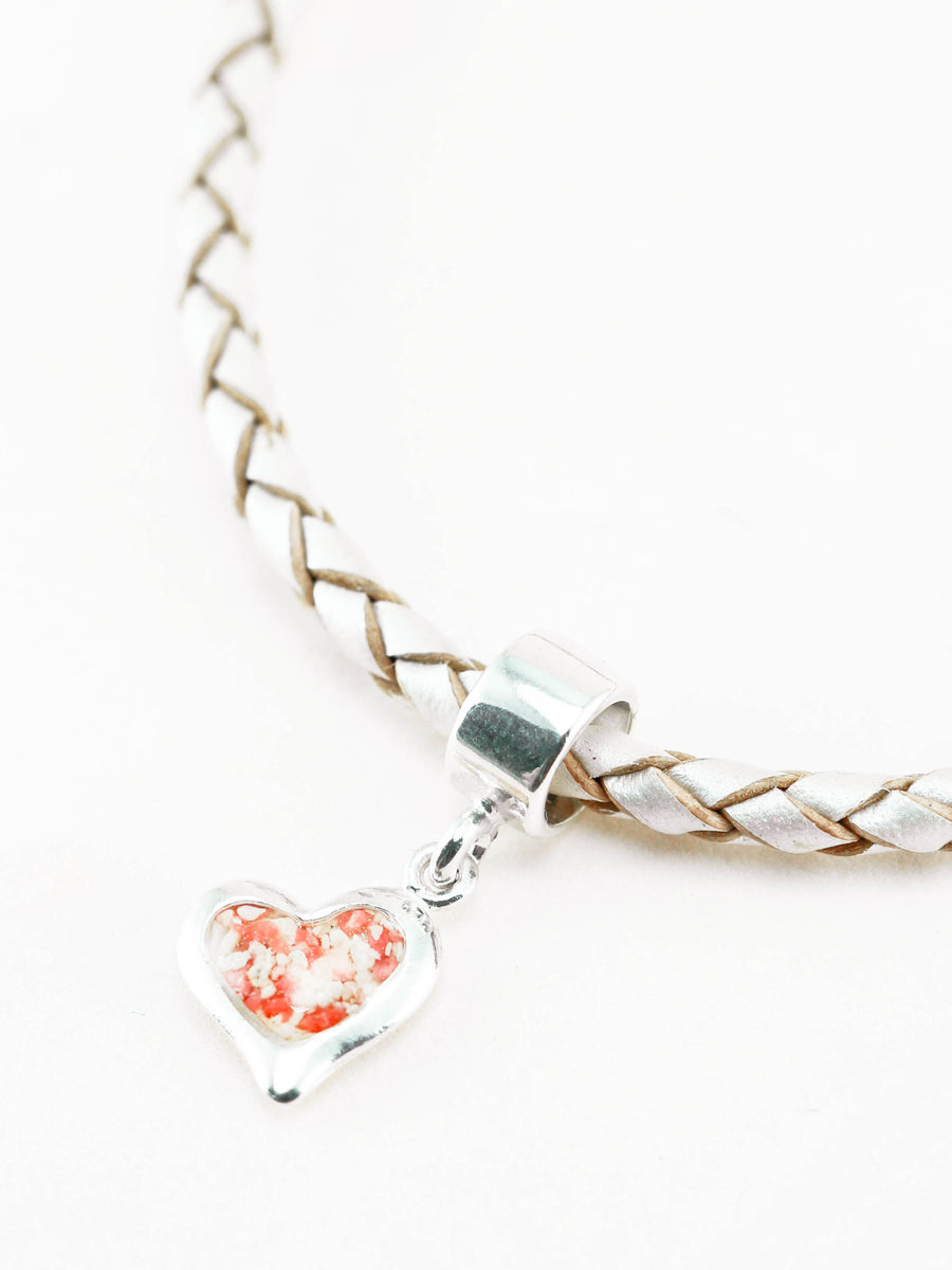 Splash Large Heart Charm w Leather Bracelet