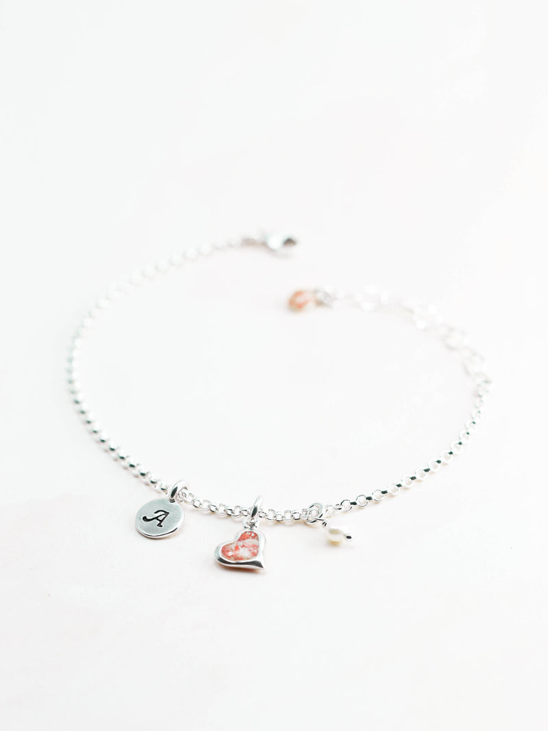 Splash Medium Heart Rolo Bracelet