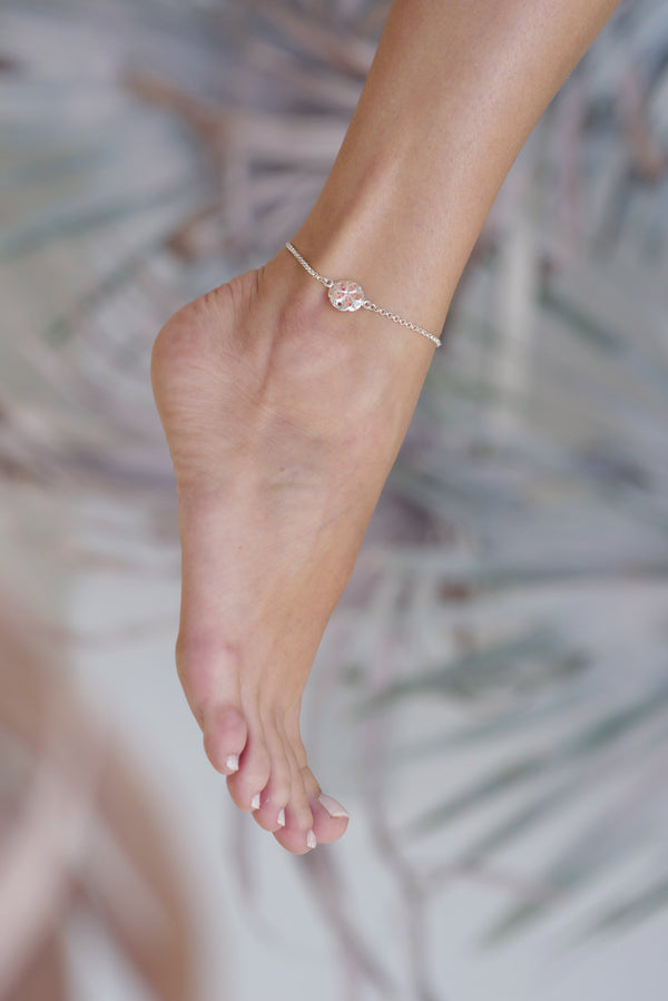 Friends ~ Small Sand Dollar Inline Anklet - Alexandra Mosher Studio Jewellery Bermuda Fine
