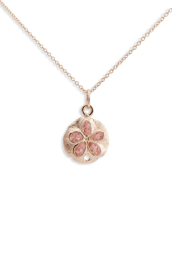 Friends ~ Small Sand Dollar 14K Gold Pendant - Alexandra Mosher Studio Jewellery Bermuda Fine