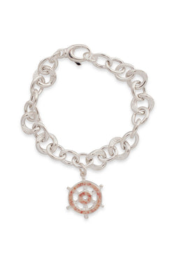 Nautical ~ Sea Venture (Ship's Wheel) Chunky Chain Bracelet - Alexandra Mosher Studio Jewellery Bermuda Fine