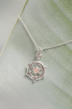 Nautical ~ Sea Venture Small Ships Wheel Pendant