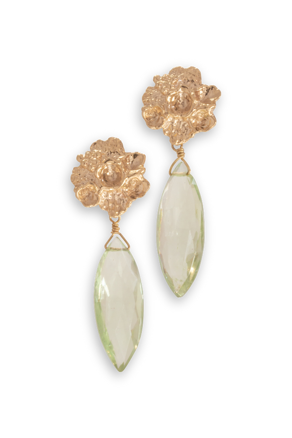 Tide Pool ~ Textured Large Gem Gold Earrings w/Green Amethyst - Alexandra Mosher Studio Jewellery Bermuda Fine