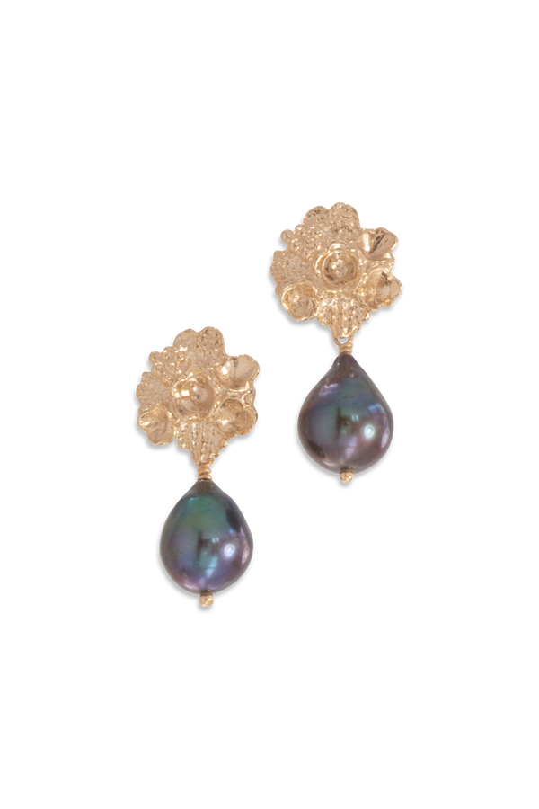 Tide Pool ~ Textured Large Gem Gold Stud Earrings w/ Fresh Water Pearl - Alexandra Mosher Studio Jewellery Bermuda Fine