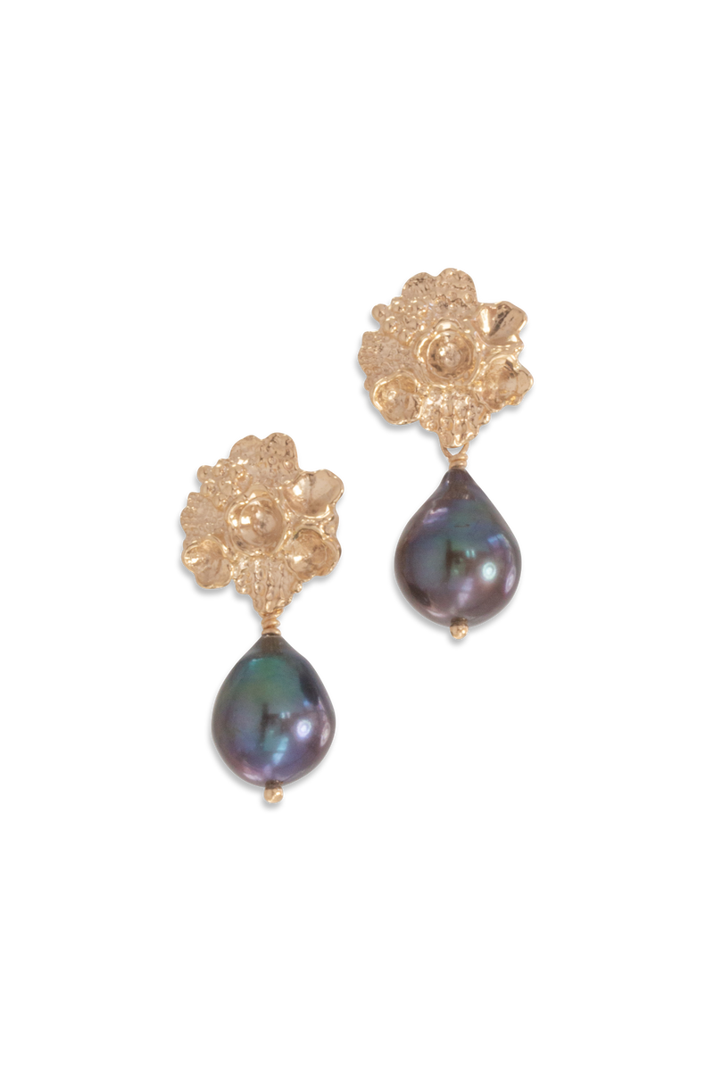 Tide Pool ~ Textured Large Gem Stud Earring 14K w/ Fresh Water Pearl - Alexandra Mosher Studio Jewellery Bermuda Fine
