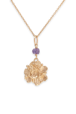 Tide Pool ~ Textured Large Gem Gold Pendant w/ Amethyst - Alexandra Mosher Studio Jewellery Bermuda Fine