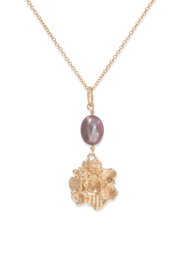 Tide Pool ~ Textured Large Gem Pendant 14K w/ Pearl - Alexandra Mosher Studio Jewellery Bermuda Fine