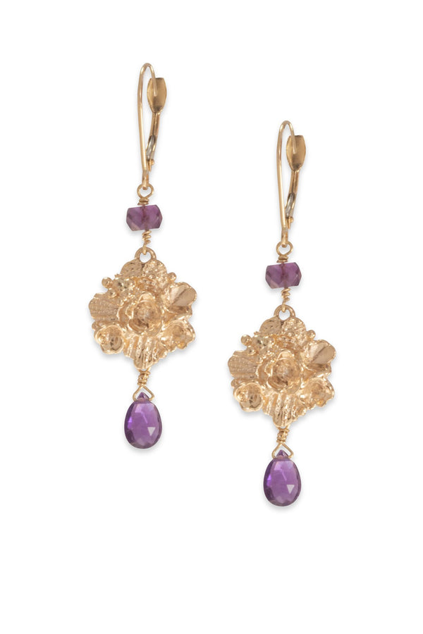 Tide Pool ~ Textured Large Gem Dangle Earring 14K w/ Amethyst - Alexandra Mosher Studio Jewellery Bermuda Fine