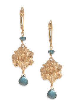Tide Pool ~ Textured Large Gem Gold Dangle Earrings w/ London Blue Topaz - Alexandra Mosher Studio Jewellery Bermuda Fine