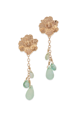 Tide Pool ~ Textured Large Gem Stud Earring 14K w/ Tourmaline, Apatite & Chalcedony