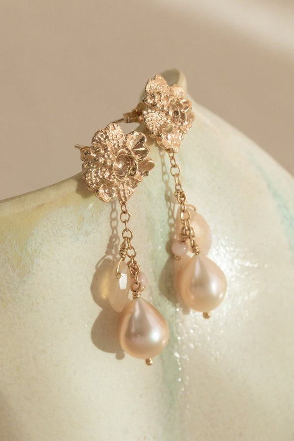 Tide Pool ~ Textured Large Gem Gold Stud Earrings w/ Peach Moonstone, Coral & Peach Pearl - Alexandra Mosher Studio Jewellery Bermuda Fine