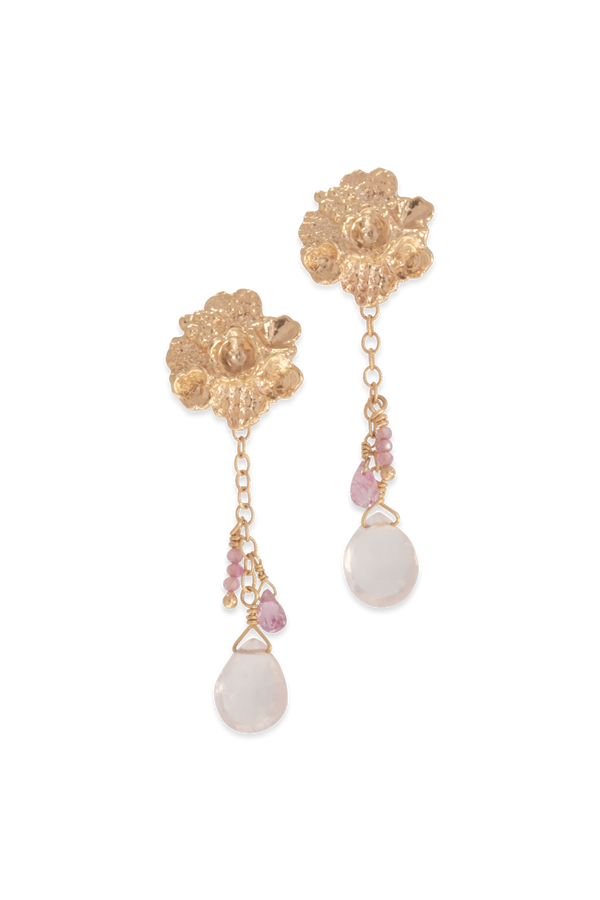 Tide Pool ~ Textured Large Gem Gold Stud Earrings w/ Pink Sapphire & Rose Quartz - Alexandra Mosher Studio Jewellery Bermuda Fine