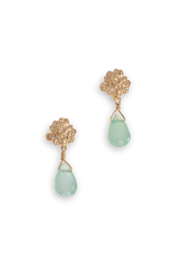 Tide Pool ~ Textured Small Gem Gold Stud Earrings w/ Chalcedony - Alexandra Mosher Studio Jewellery Bermuda Fine