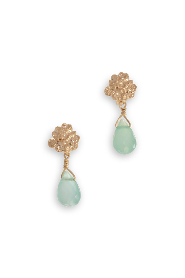 Tide Pool ~ Textured Small Gem Stud Earring 14K w/ Chalcedony - Alexandra Mosher Studio Jewellery Bermuda Fine