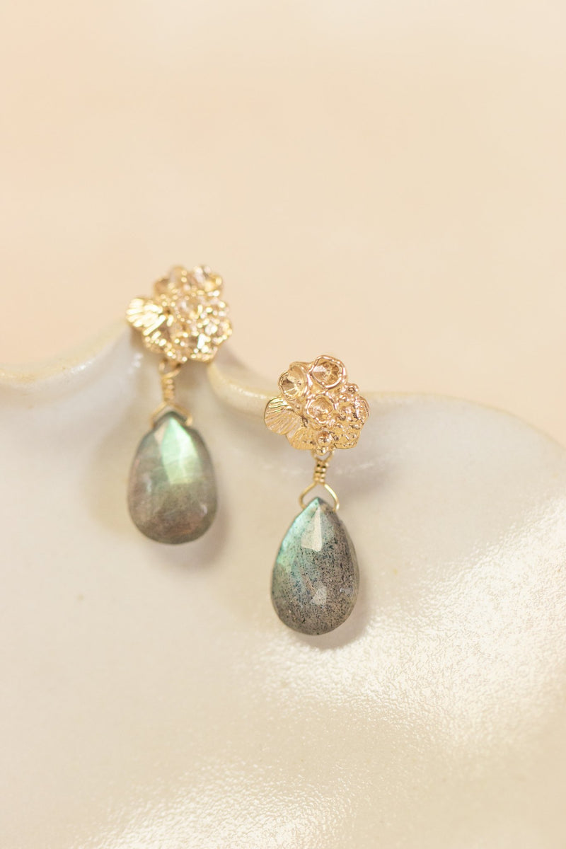 Tide Pool ~ Textured Small Gem Stud Earring 14K w/ Labradorite - Alexandra Mosher Studio Jewellery Bermuda Fine
