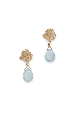 Tide Pool ~ Textured Small Gem Stud Earring 14K w/ Swiss Blue Topaz