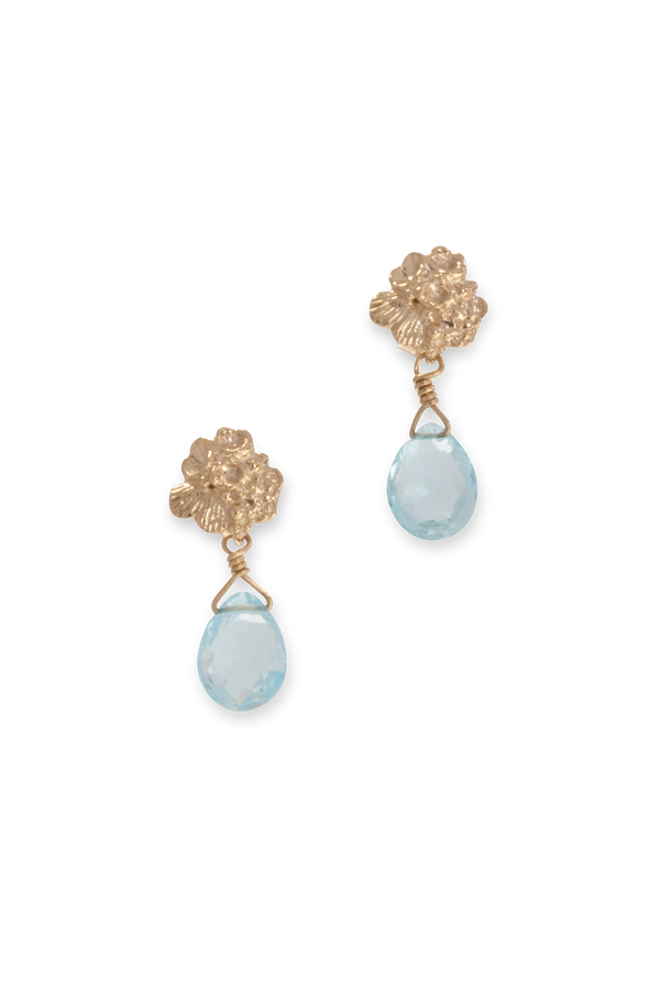 Tide Pool ~ Textured Small Gem Stud Earring 14K w/ Swiss Blue Topaz - Alexandra Mosher Studio Jewellery Bermuda Fine
