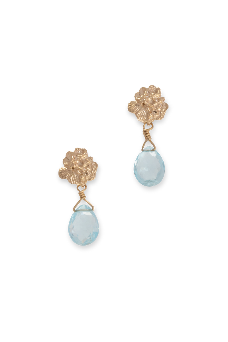 Tide Pool ~ Textured Small Gem Gold Stud Earrings w/ Swiss Blue Topaz - Alexandra Mosher Studio Jewellery Bermuda Fine